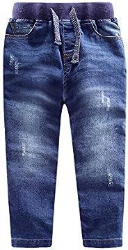 LAPLBEKE Pantalones para Niño Vaqueros 4 Bolsillos Rectos Otoño Invierno Niños Pantalón De con Cintura Elástic