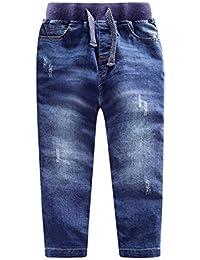 LAPLBEKE Pantalones para Niño Vaqueros 4 Bolsillos Rectos Otoño Invierno Niños Pantalón De con Cintura Elástica