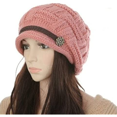 Donne Knit Neve Cappello Inverno Beanie Crochet Cap, Bambino donna, Pink