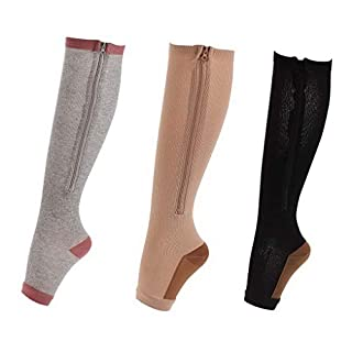 ACMEDE Compression Socks Zipper Knee Stockings Leg Support Open Toe Stretchy Zipper 3 Pair Best for Flight and Travel L/XL (9-13 UK)