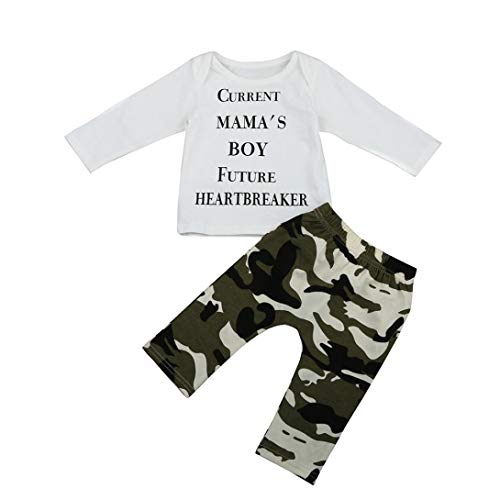 KOKOUK Boys Clothing Sets, 1Set Newborn Kids Baby Boys Outfits Clothes Letter T-Shirt Tops + Camouflage Pants (Long Sleeve-a) -
