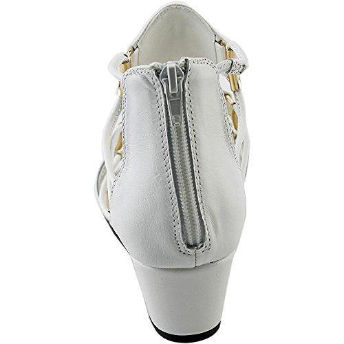 Bella Vita Isla Femmes étroit Cuir Sandales Compensés white