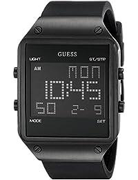 147e1dd8982e GUESS U0595G1 - Reloj Digital Cuadrado para Hombre con Correa de Silicona  Negra