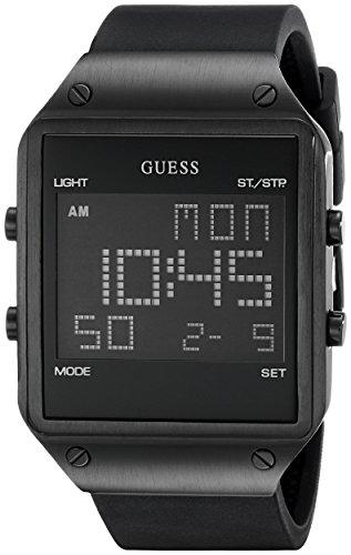 GUESS pour Homme U0595g1carré Montre numérique avec Bracelet en Silicone Noir