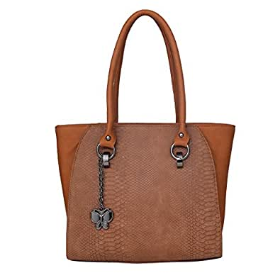 Butterflies Women Handbag (Tan) (BNS 0681TN)