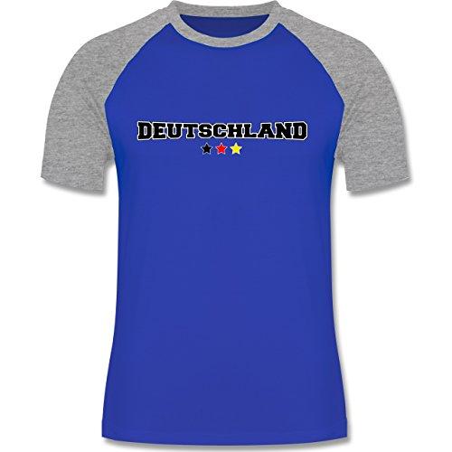 EM 2016 - Frankreich - Deutschland College Schriftzug - zweifarbiges Baseballshirt für Männer Royalblau/Grau meliert