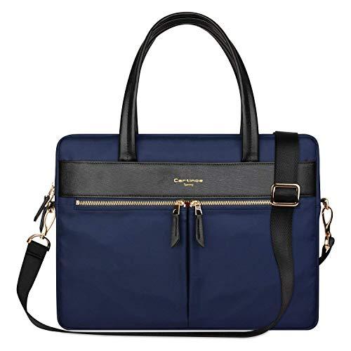 Cartinoe frauen laptop tasche tasche rfid - blockade ultrathin nylonfasergeschäfts schulter beutel handtasche für 15 - zoll - macbook ultrabook für damen in blau