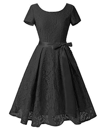 Dresstells Robe de soirée cocktail Robe de demoiselle d'honneur rétro vintage en dentelle col rond manches courtes Noir