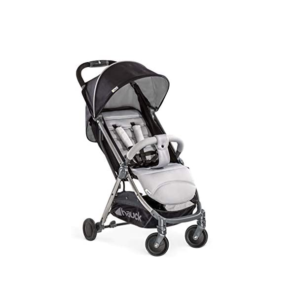 Hauck Swift Plus, Compact Pushchair with Lying Position, Extra Small Folding, One Hand Fold, Lightweight, Carrying Strap, from Birth Up To 15 kg, Silver/Charcoal Hauck EASY FOLDING - This pushchair is as easy to fold away as possible - the comfort stroller can be folded with one hand only within seconds, leaving one hand always free for your little ray of sunshine LIGHTWEIGHT - This pushchair can not only be folded away very compactly, but also easily transported by its carrying strap thanks to its light weight and aluminium frame COMFORTABLE - Backrest and footrest are multi-adjustable, the hood extendable. In addition, the pushchair comes with suspension, swiveling front wheels, soft padding, and large shopping basket 1