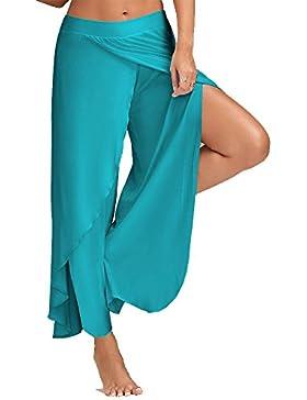 Pantalones Mujer Ancho Pierna Palazzo Pantalones Cintura Elástica Holgados Flojos Suave Pantalones de Yoga