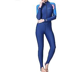Femmes Hommes Combinaison de Plongée Zippé Anti-UV Manches Longues pour Plongée Natation Surf (femme, M)