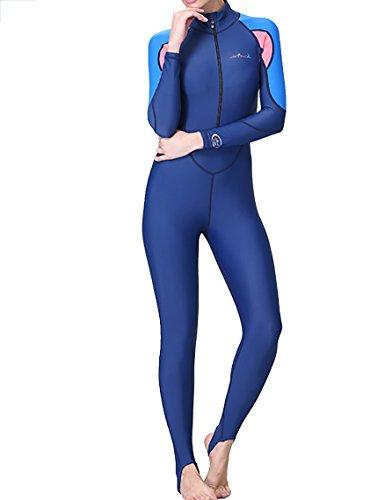 Damen Herren Lange Ärmel Tauchanzug Neoprenanzug One Piece UV-Schutz Badeanzug (XL, Damen)