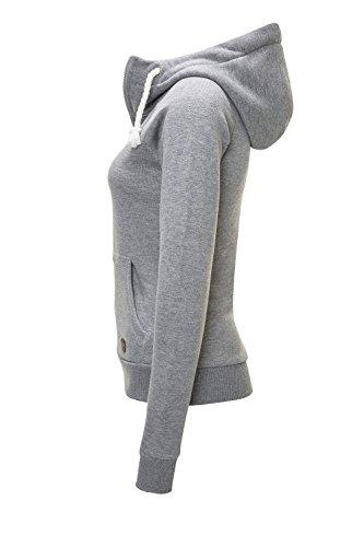 Hailys Damen Sweatjacke Hoodie Sweatshirt Kapuzenpullover (Light Grey Marl/Plain, XS) - 2