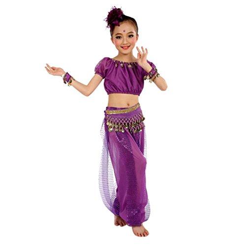Bekleidung Longra Kinder Mädchen Tanzkostüme Bauchtanz Karneval Kostüm Set Kinder Bauchtanz Ägypten Tanz Tuch Chiffon Tops +Hosen Tanzkleidung für Kinder Mädchen (130CM, Purple)