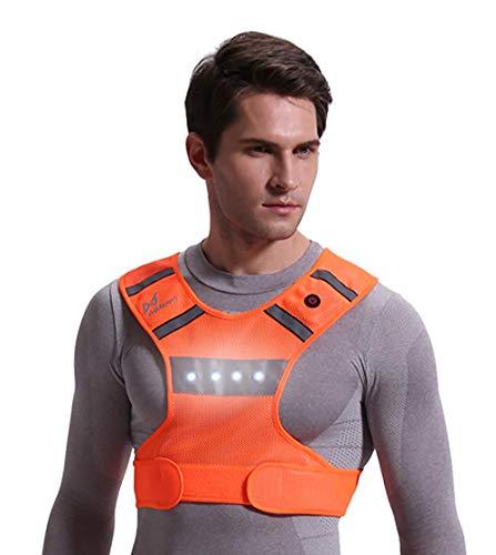 Yuyudou Herren- / Damen-Radweste mit LED-Licht, Nachtsportkleidung, geeignet für Outdoor-Sportarten, Radsport Anzüge,Orange,XL Batterie-jumper-box