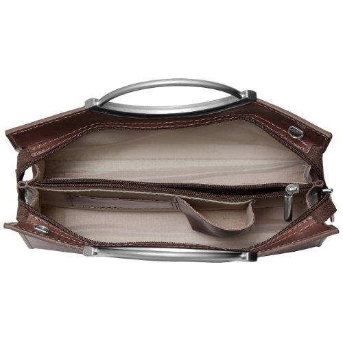 CASPAR TL622 klassische kleine elegante Damen Ledertasche Henkeltasche Businesstasche Braun