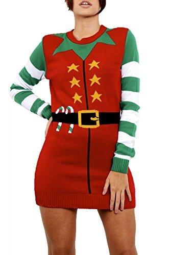 Größe Kostüm 26 Elf (Be Jealous Damen Neu Weihnachten Elfe Kostüm Weihnachten Rundhals Gestrickt Lust Auf Santa Helfer Minikleid UK Plus Größe 8-26 - Rot,)