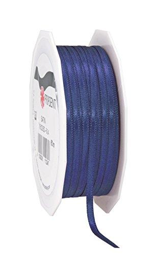Prasent 3 mm 50 m Rolle Schleifenband, Satin, doppelseitig, dunkel blau -