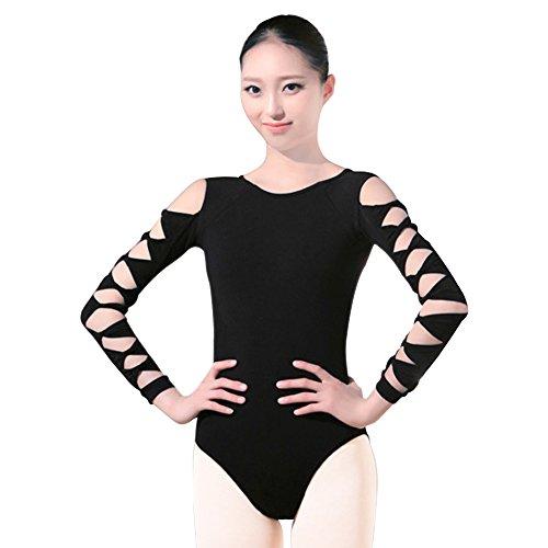 BOZEVON Damen Body Langarm Sportbody Ballett Trikot Ballettanzug Tanz-Body Gymnastik Leotard Tops (Schwarz langärmelig) - Langarm-gymnastik-trikots