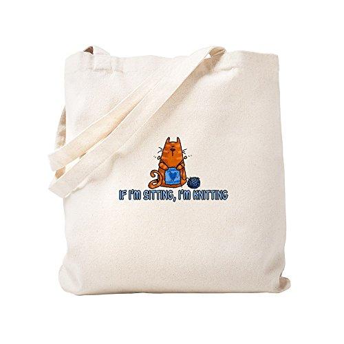 CafePress-Wenn, ich sitz, I 'm Stricken-Leinwand Natur Tasche, Reinigungstuch Einkaufstasche Tote S khaki - Kitty Shopper Tasche