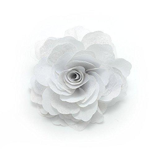 Meilliwish Kamelien Blume Haarklammer Brosche(A74)(Weiß)