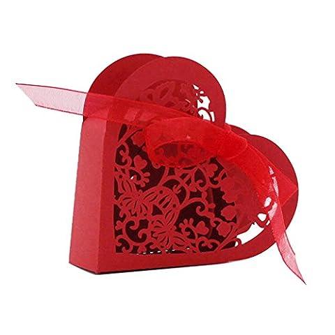 Lot de 20 Boîte à Dragées Coeur Bonbonnière en Papier Boîte Cadeau pour Fête Mariage - Rouge