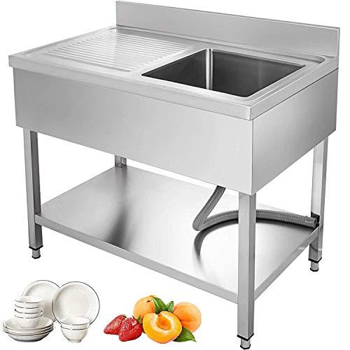 GIOEVO Lavello cucina 1 vasca Lavello Acciaio Inossidabile Lavello Professionale Piedi Lavello Singilo Acciaio Inox Lavello da Cucina con Pannello