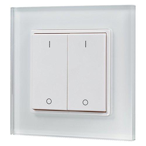 iluminize Design Wand-Dimmer Funk: mit Wippschalter zur Steuerung von weißen LEDs, 2 Zonen, 3V batteriebetrieben, KEIN Universal-Dimmer: Funk Controller ist erforderlich! (2 Lichtzonen) -