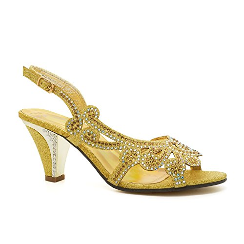 London Footwear ,  Damen Peep Toes , gold - gold - Größe: 38
