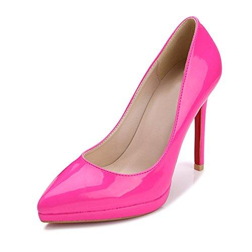 Escarpins Femme Talon Aiguille Fermeture A Enfiler Chaussure Pointue A Talons Rose