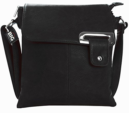 Big Handbag Shop Womens Medium Trendy Messenger Cross Body Shoulder Bag (9729 Black)