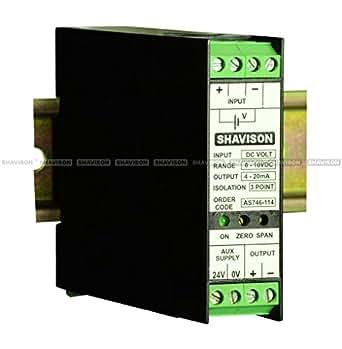 Shavison Signal Converter AS746-308, I/P : 0-200 deg C (RTD-PT100), O/P : 4-20mA, Aux Supply : 24VDC, Slim Size
