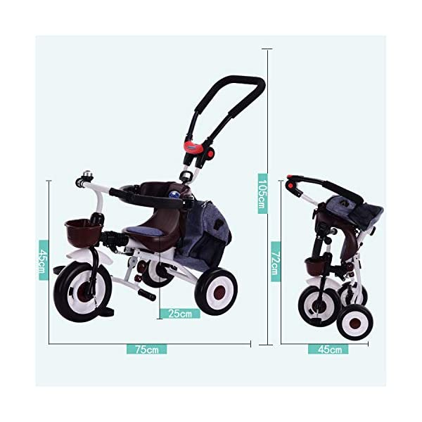 BGHKFF 4 In 1 Childrens Folding Tricycle 5 Months To 5 Years Silent Blockable Rear Wheels Childrens Tricycles Folding Sun Canopy Push Handle Child Trike Maximum Weight 60 Kg,Blue BGHKFF ★ 4-in-1 multi-function: convertible into stroller and tricycle. Remove the guardrail and awning as a tricycle. ★Material: Thick carbon steel, suitable for children from 5 months to 5 years old, maximum weight: 60 kg ★ Tricycle foldable, space saving, easy to carry, great gift: perfect gift for children's birthday or Christmas. Easy to assemble When you don't use it, you can fold it and store it in any corner. 5