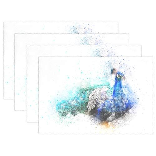 MALPLENA Tischsets für Esstisch, mit Aquarell-Motiv, Motiv: Vogel Pfau, hitzebeständig, rutschfest, waschbar, Polyester, 1, 12x18x1 in -