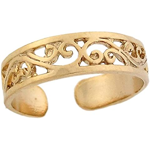 14K Amarillo Oro Grabado Vine elegante anillo de dedo para mujer