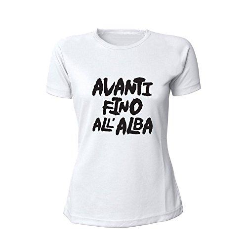 T-Shirt Donna Bicolore Personalizzata Maglietta Femminile Originale Avanti fino all'alba Bianco