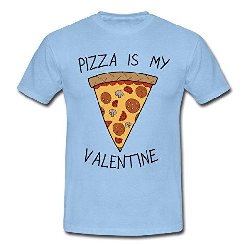 Spreadshirt Anti-Valentinstag Pizza Is My Valentine Humor Männer T-Shirt, M, Sky (Das Leben Für Ist Gut-shirt Jungen)