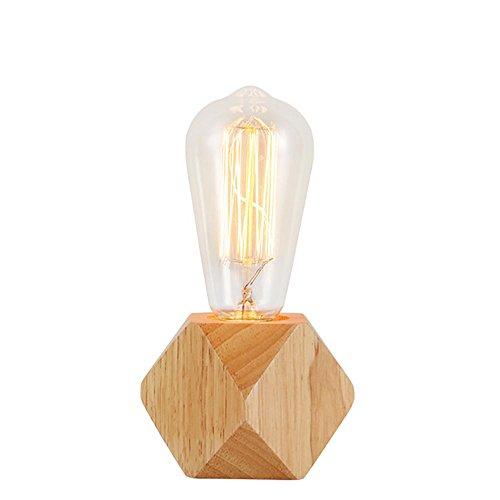 Natürliche Lampenschirme (XYDM Tischleuchte Natürliches Massivholz Glas Lampenschirm nordisch Kreativ Nacht Augenpflege Leselicht)