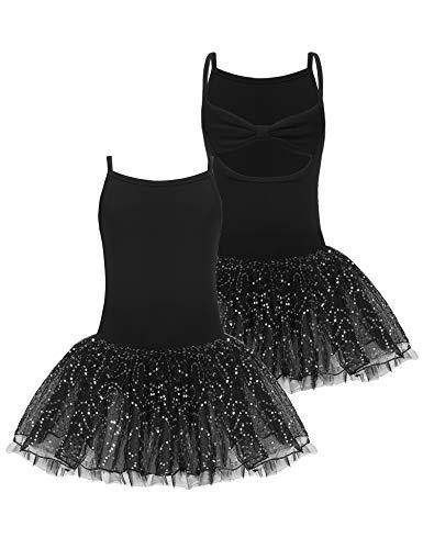 Bricnat Ballettkleid Kinder Ärmellos Schwarz Tanzkleid Ballettkleidung Baumwolle mit Schleif Röckchen in rosa, schwarz, pink, lila 150