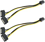 CZQC 6 دبوس بكيي إلى ساتا 15 دبوس ذكر كابل الطاقة الفاصل 2PCS 2X15 دبوس ساتا ذكر إلى 8 دبوس (6+2 دبوس) PCI-Exp