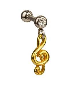 SIX ear cuff en argent 925/or représentant une clé de sol (435–181 strass)