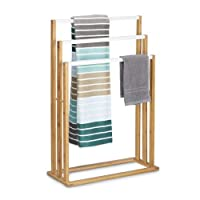 Relaxdays Bamboo Stand Size: Approx 82 x 54 x 24 cm Ascending Holder w/ 3 Rails as Elegant Bathroom Accessory Freestanding Rack for Bath and Hand Towels in Natural Style, Brown, White, 24 x 54 x 82 cm