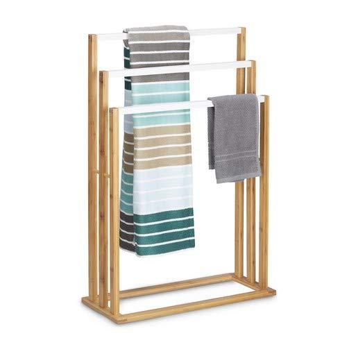 Relaxdays Bambus H x B x T: ca. 82 x 54 x 24 cm treppenförmiger Handtuchhalter mit 3 Handtuchstangen als Elegantes Badaccessoire für Handtücher im natürlichem Stil, Natur Handtuchständer, weiß (Freistehend Handtuchhalter)