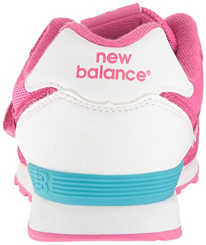 New Balance 574 Hook and Loop High Visibility, Baskets Basses Mixte Enfant Rose (Pink)