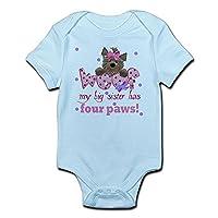 CafePress - Big sister has four paws Baby Infant Bodysuit - Cute Infant Bodysuit Baby Romper