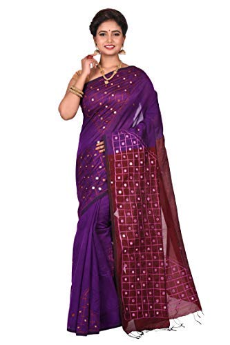 TRIMAYA Purple & Maroon Box Embroidery Mirror Work Handloom Cotton Women's Saree