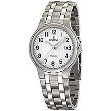 FESTINA F16460/1 - Reloj de caballero de cuarzo, correa de titanio color gris