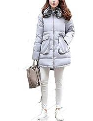 QIANQIAN Señoras largo con capucha XL invierno ropa grande cuello acolchado chaqueta abrigo , 4xl , gray