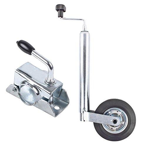 Stützrad Anhänger 48 mm Vollgummirad Metallfelge Stützlast statisch 150 Kg inkl Klemmschelle 48 mm für Wohnwagen, Wohnmobil und Anhänger