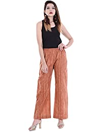 Palakh Women's Cotton Solid Brush Printed Palazzo Trouser (Rust Color)